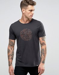 Pretty Green T Shirt With Paisley Logo Print In Slim Fit Black Black