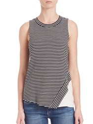 Red Haute Striped Side Slice Tank Black