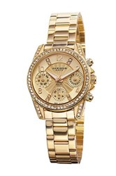 Akribos Xxiv Women's Crystal Swiss Quartz Multifunction Bracelet Watch Metallic