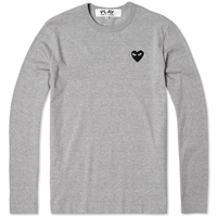 Comme Des Garcons Play Long Sleeve Tee Grey And Black