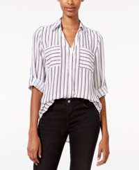 Amy Byer Bcx Juniors' Printed Tab Sleeve Shirt Bourdeaux Stripe