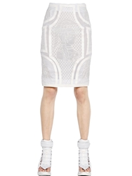 Ktz Faux Leather And Silk Organza Pencil Skirt White