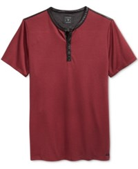Guess Men's Mason Jacquard Henley Shirt Tawny Port Multi