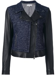 Jacob Cohen Contrast Panel Biker Jacket Blue