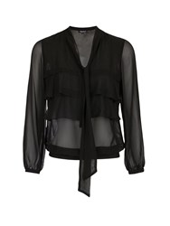 Morgan Layered Ruffle Front Sheer Blouse Black