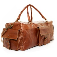 Satch And Fable Handmade Leather Duffel Carry On Bagbrown
