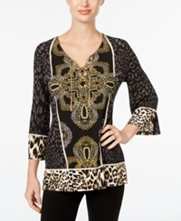 Jm Collection Petite Printed Lace Up Tunic Only At Macy's First Class Mix