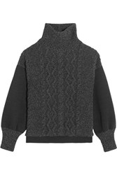 Tomas Maier Cable Knit Wool Blend And Scuba Jersey Turtleneck Sweater Charcoal
