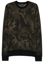 Rag And Bone Camouflage Print Fine Knit Wool Jumper Olive