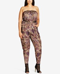 City Chic Trendy Plus Size Strapless Jumpsuit Blurred Dr