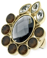 T Tahari Gold Tone Mixed Jewels Stretch Statement Ring