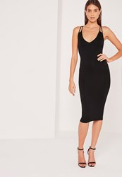 Missguided Double Strap Cross Back Plunge Midi Dress Black Black