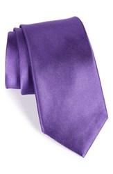 Men's Nordstrom Men's Shop Solid Satin Silk Tie Purple Heart