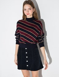 Burgundy And Navy Striped Mock Neck Sweater