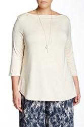 Rachel Pally Caleb Boatneck Blouse Plus Size Beige