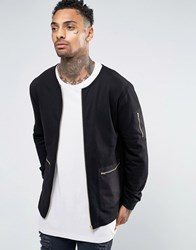 Asos Collarless Jersey Bomber Jacket With Woven Pocket And Gold Zips Black