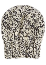 The North Circular Roots Chunky Knit Alpaca Blend Beanie White And Black