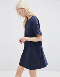 Asos Casual Oversize T Shirt Dress With Pocket Navy
