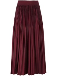 Dkny Pleated A Line Skirt Red