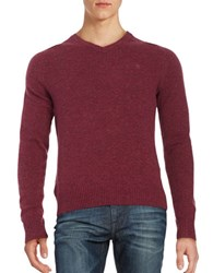 Original Penguin Marled Wool V Neck Sweater Amaranth