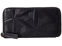 Marni Flower Embossed Calf Leather Card Wallet Navy Wallet Handbags