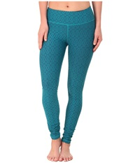 Prana Misty Legging Cast Blue Jacquard Women's Workout Green