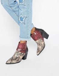 Daisy Street Snake Print Heeled Ankle Boots Multi