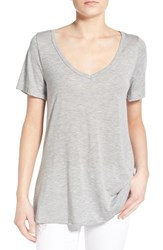 Women's Socialite Back Cutout Slub V Neck Tee Heather Grey