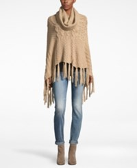 David And Young Mixed Cable Knit Turtleneck Poncho Natural