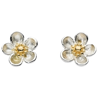Kit Heath Budding Blossom Sterling Silver Stud Earrings Silver Gold