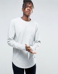 Only And Sons Longline Long Sleeve T Shirt Grey