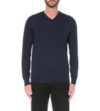 Armani Jeans V Neck Knitted Jumper Blu