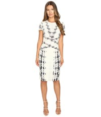 Prabal Gurung Short Sleeve Printed Sheath Dress Ivory Snakeskin