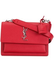 Saint Laurent Small 'Sunset Monogram' Satchel Red