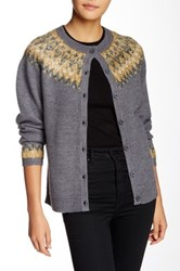 Anna Sui Sparkle Fairisle Wool Cardigan Yellow