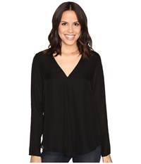 Heather Silk Double Layer Long Sleeve Top Black Women's Clothing