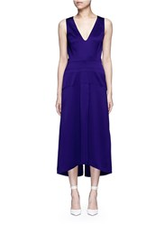 Victoria Beckham V Neck Seamed Satin Midi Dress Purple