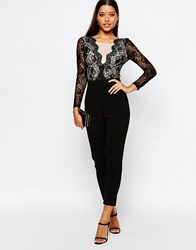Lipsy Scallop Lace Front Tailored Jumpsuit Black