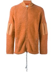 Maison Martin Margiela Textured Knit Zip Up Sweatshirt Yellow Orange