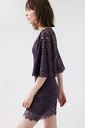 Kimchi And Blue Exaggerated Bell Sleeve Lace Mini Dress Dark Purple