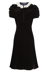 Polo Ralph Lauren Velvet Dress With Ruffled Collar Black