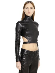 Thierry Mugler Cropped Stretch Nappa Leather Top Black