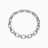 Tiffany And Co. Link Clasp Bracelet In Sterling Silver 7.5 Long. Sapphires