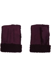 Agnelle Nubuck Fingerless Gloves Purple