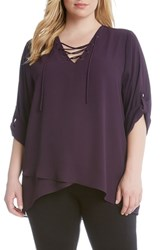 Karen Kane Plus Size Women's Lace Up Roll Sleeve Blouse Eggplant