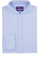 Ralph Lauren Purple Label Men's Keaton Parquet Pattern Cotton Shirt Light Blue