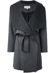 Michael Michael Kors Wrap Style Belted Coat Grey