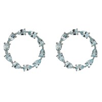Emily Mortimer Jewellery Aqua White Gold Sky Blue Topaz Circle Earrings Blue Silver