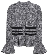 Alexander Mcqueen Wool And Silk Knitted Cardigan Black