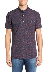Rip Curl Men's 'Roundabout' Tailored Fit Short Sleeve Print Woven Shirt Navy